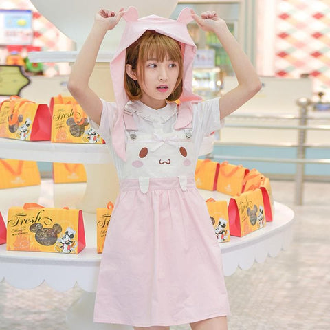 Pink Kawaii Bunny Suspender Dress SP179589