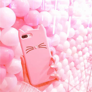 Pink Kawaii Cat Samsung Phone Case SP1811915