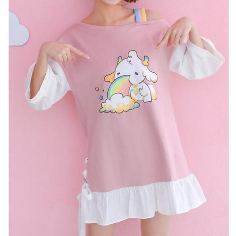 Pink Kawaii Falbala Rabow Sheep Dress SP1812123