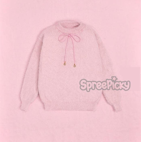 Pink Kawaii Heart-shaped Patch Sweater Top SP178705