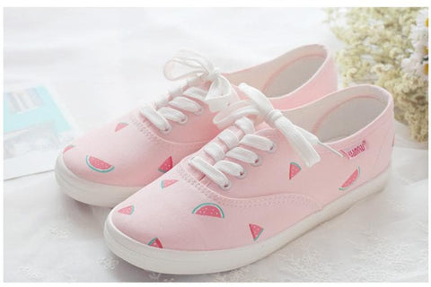 Pink Kawaii Watermelon Canvas Shoes SP179551