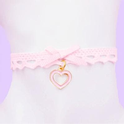 Pink Lace Little Heart Bowknot Bracelets/Choker SP165190