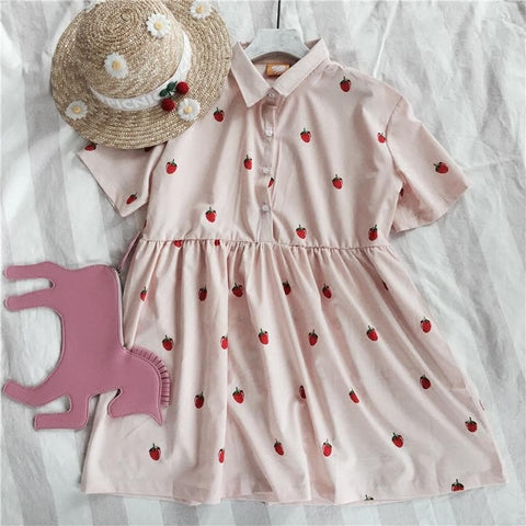 Pink Leisure Strawberry Print Dress SP166876