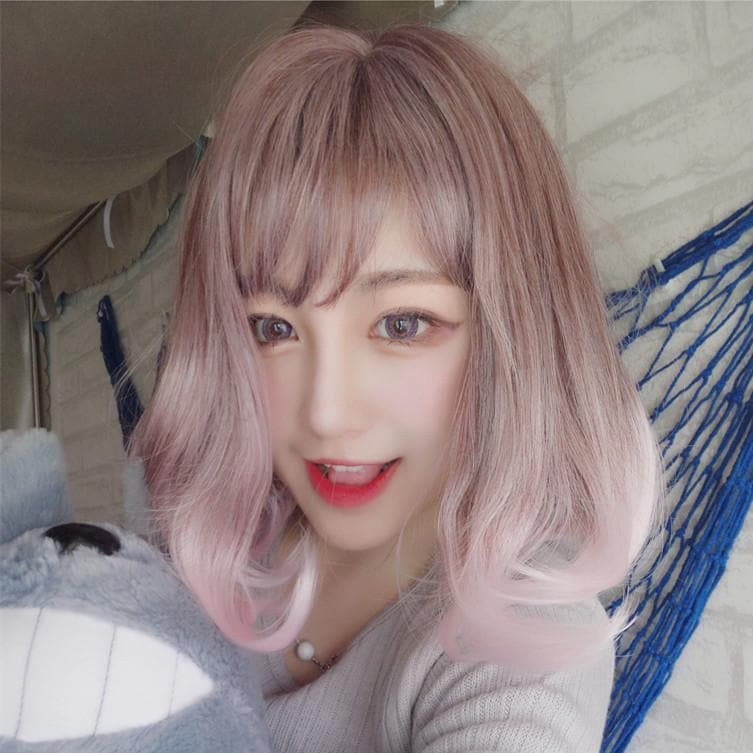 Pink Lolita BOBO Short Curly Hair Wig SP166832