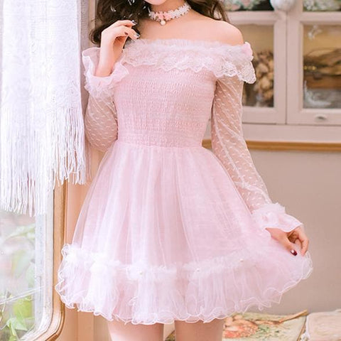 Pink Lolita Lace Long Sleeve Off Shoulder Dress SP178878