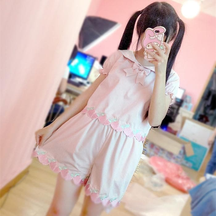 Pink Strawberry Embroidery Sailor Top/Shorts Set SP152493 - SpreePicky  - 1