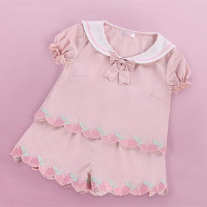 Pink Strawberry Embroidery Sailor Top/Shorts Set SP152493 - SpreePicky  - 2