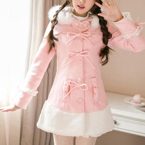 Pink Sweet Heart Bow Woolen Coat SP1711435