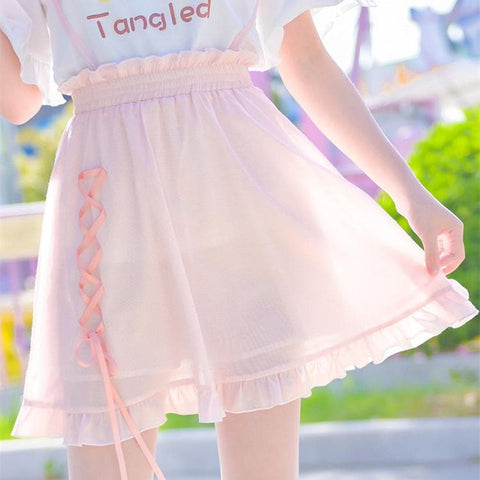 Pink Sweet High Waist Suspender Skirt SP1812550