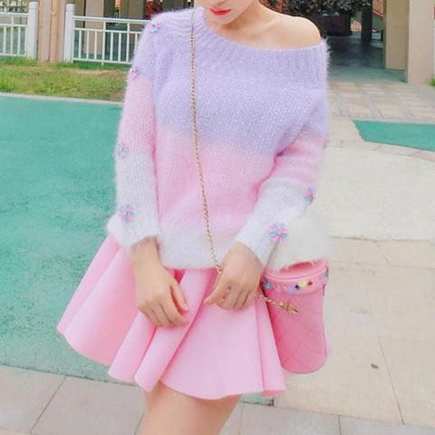 Pink Sweet Off-Shoulder Sweater SP168102
