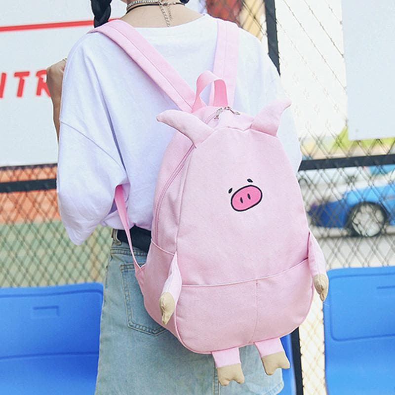 Pink/Black/Milk white Cute Pig Canvas Backpack SP1710103