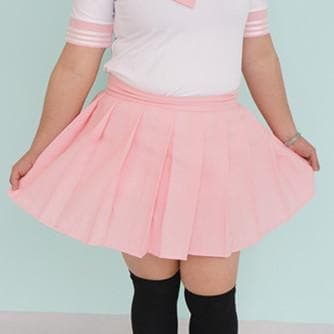 Plus Size Pastel Cute  Baby Pink Sailor Seifuku School Uniform Pleated Skirt Only SP140888