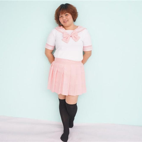 Plus Size Pastel Cute  Baby Pink Sailor Seifuku School Uniform Pleated Skirt Only SP140888 - SpreePicky  - 5