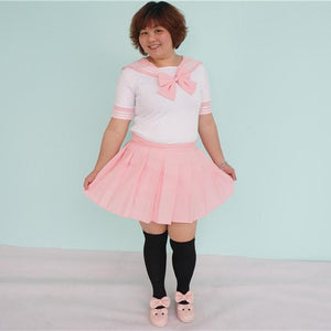 Plus Size Pastel Cute  Baby Pink Sailor Seifuku School Uniform Pleated Skirt Only SP140888 - SpreePicky  - 4