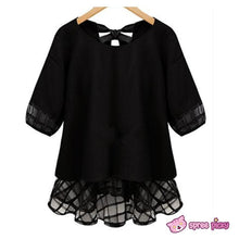 Load image into Gallery viewer, Plus Size XL--4XL Black/White Chiffon Lace Top SP151860 - SpreePicky  - 4