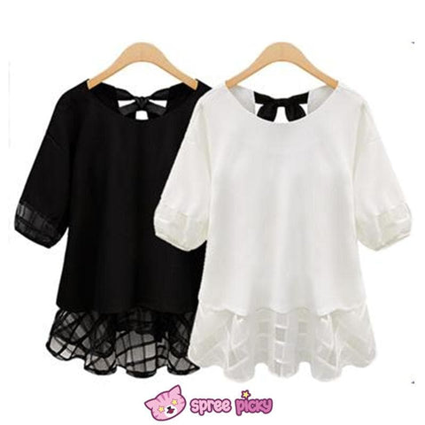 Plus Size XL--4XL Black/White Chiffon Lace Top SP151860