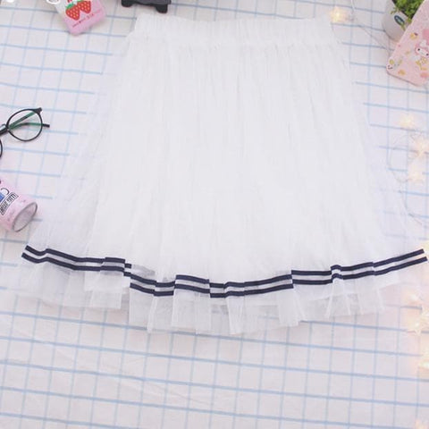 Pretty White A Shape Petticoat Skirt SP167529