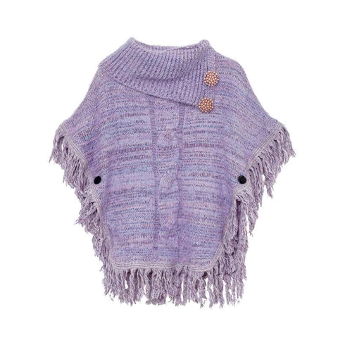 Purple Loose Tassels Knitted Cape SP168105