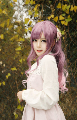 Purple Mixed Pink Lolita Long Curly Hair Wig SP166371