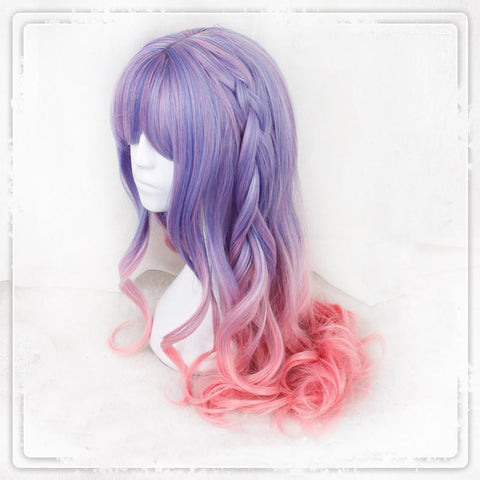 Purple Pink Gradual Change Pastel Lolita Long Curl Wig SP179101