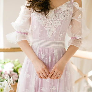 Purple Sweet Lace Gallus Princess Maxi Long Dress SP179230