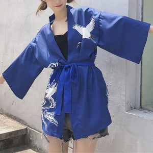 Red/Black/Blue Retro Red-Crowned Crane Kimono Bathrobe SP1812492