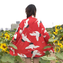 Load image into Gallery viewer, Red/Black/Blue Retro Red-Crowned Crane Kimono Bathrobe SP1812492