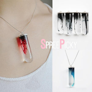 Red/Black/Blue Test Tube Resin Necklace