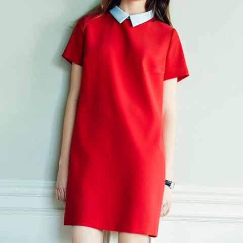 Red/Black Sweet Loose Dress SP179345