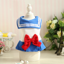 Load image into Gallery viewer, Red/Blue Bow Sailor Dress Pet Doggie Clothing SP1811775