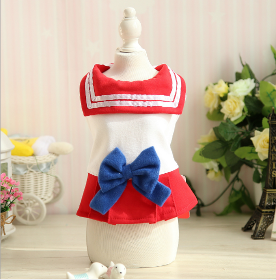 Red/Blue Bow Sailor Dress Pet Doggie Clothing SP1811775