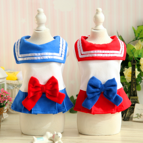 Red/Blue Bow Sailor Dress Doggie Clothing SP1811775