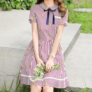 Red/Navy Collared Pineapple Stripped Dress SP1710382