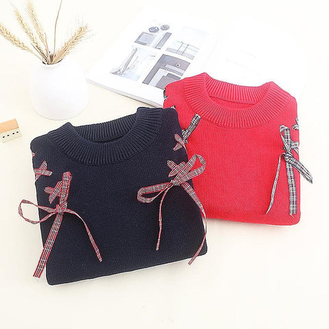 Red/Navy Kawaii Ribbon Bow Sweater SP178744