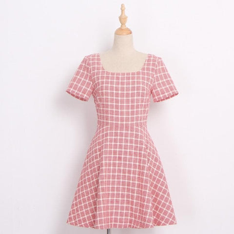 Red Grid Bowknot Back Dress SP1710284