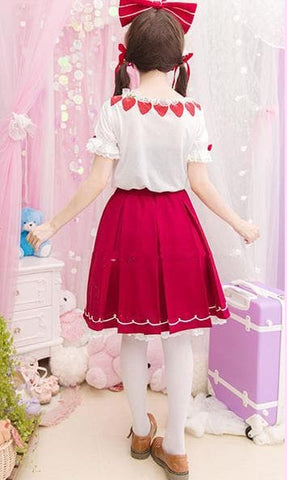 Red Kawaii Strawberry Skirt SP153809 - SpreePicky  - 4