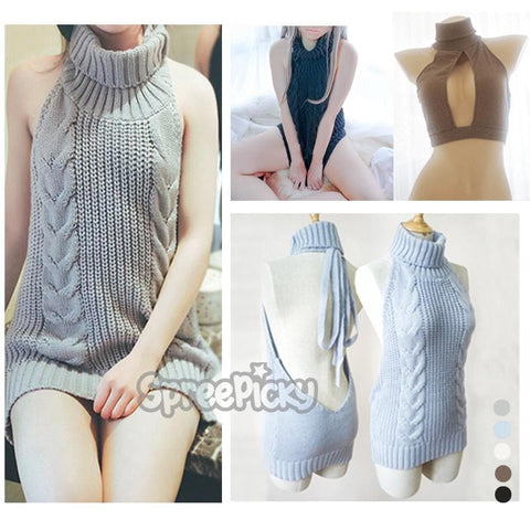 Blue/Grey Virgin Killer Sweater SP178781