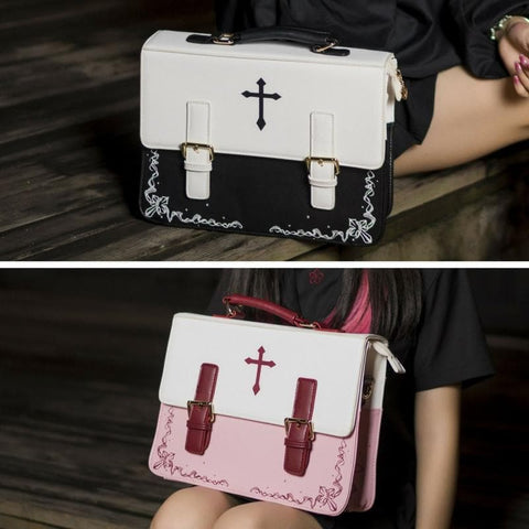[Reservation] Red/Pink Gothic Lolita Cross 3 Ways Used Handbag Backpack Crossbody Bag SP178856