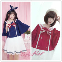 68eeb1d4a7  Reservation  Blue Red Kawaii Sailor Bow Poncho Skirt SP1811889