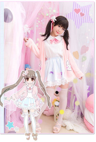 Kawaii Bunny Blouse/Skirt/Sweater SP153543 - SpreePicky  - 8