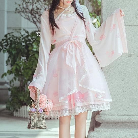 {Reservation}Pink Pastel Sakura Fish Kimono Dress SP1711495