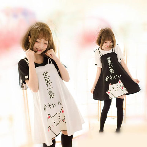 S/M/L White/Black Kawaii Kitty Cat Dress/T-Shirt SP166069