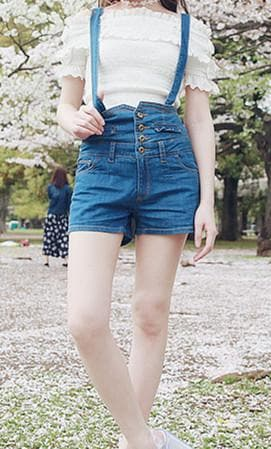 [Reservation] S/M/L White/Blue Bowknot Removable Suspender Jean Shorts SP166506