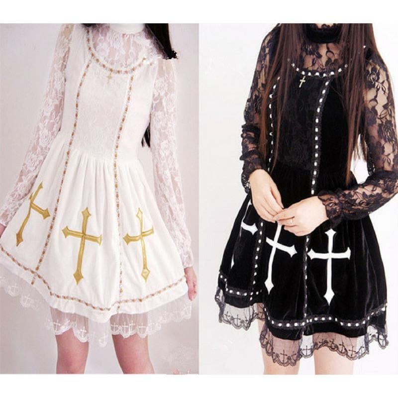 Reservation S/M Black/White Retro Cross Gold Stamping Lace Dress SP168360