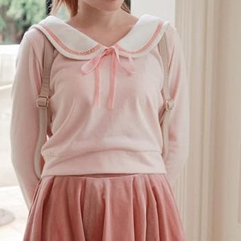 [Reservation] S/M Blue/Pink Sailor Collar Knitted Sweater SP153647 - SpreePicky  - 3
