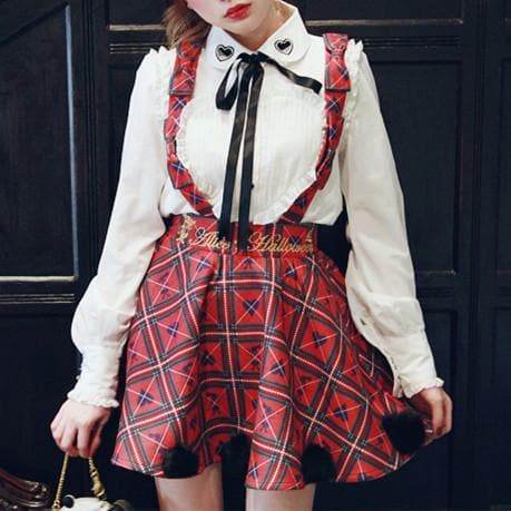 [Reservation] S/M Red/White [Alice In Wonderland] Suspender Skirt SP154412 - SpreePicky  - 5