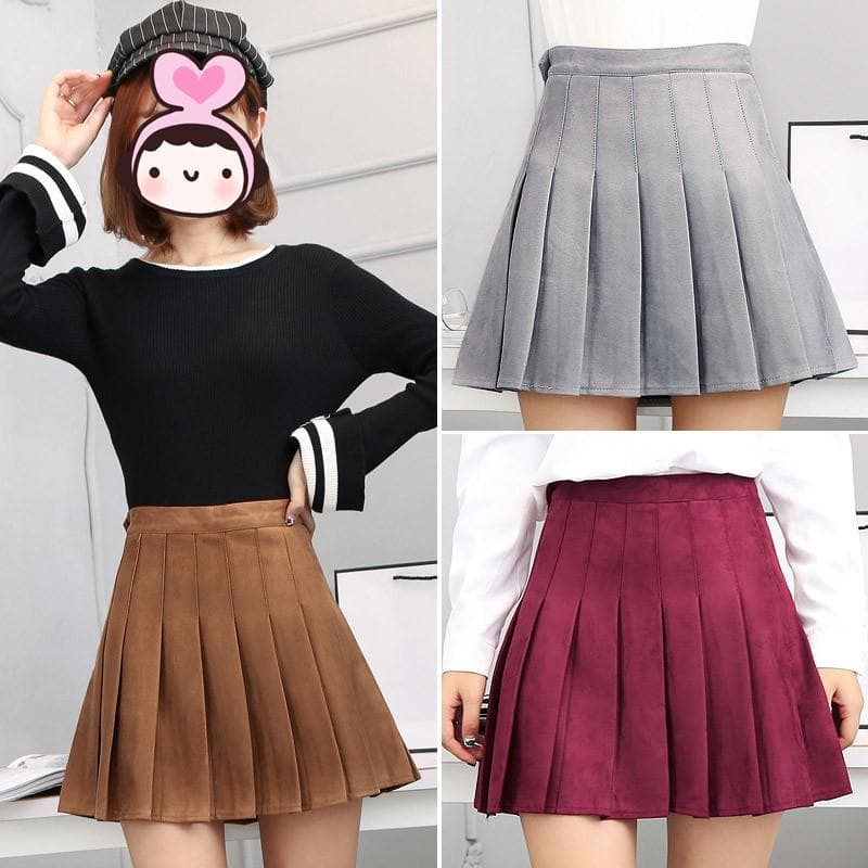 S-2XL 4 Colors High Waist Pleated Skirt SP168311