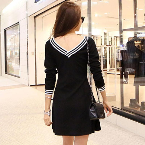S-2XL Black Elegant Long Sleeve V-neck Dress SP164980