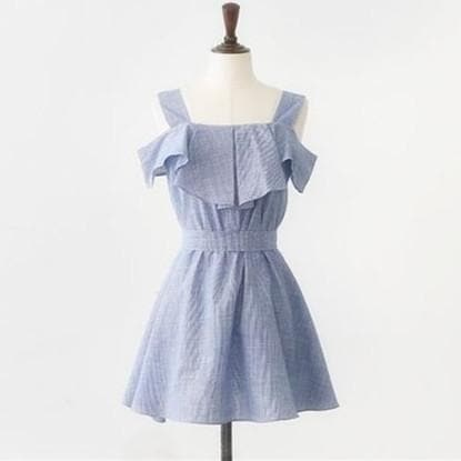 S-2XL Blue Falbala Off Shoulder Dress with Bowknot SP166091