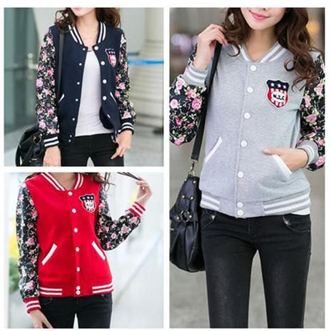 S-2XL Red/Navy Oversized Couple Baseball Jacket Coat SP168582